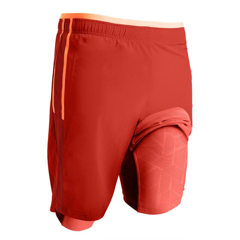 Pantaloncini calcio 3 in 1 TRX grigio-rosso