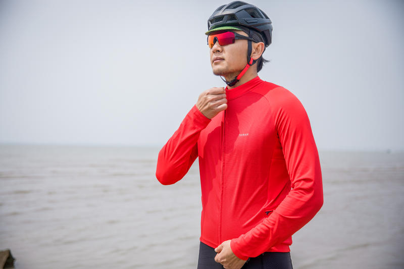 RC100 UVProtect Long-Sleeved Warm Weather Road Cycling Jersey - Red
