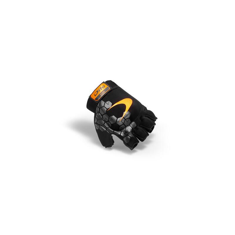 Kids'/Adult Field Hockey Medium Intensity Half Finger Glove Xlite - Black/Orange