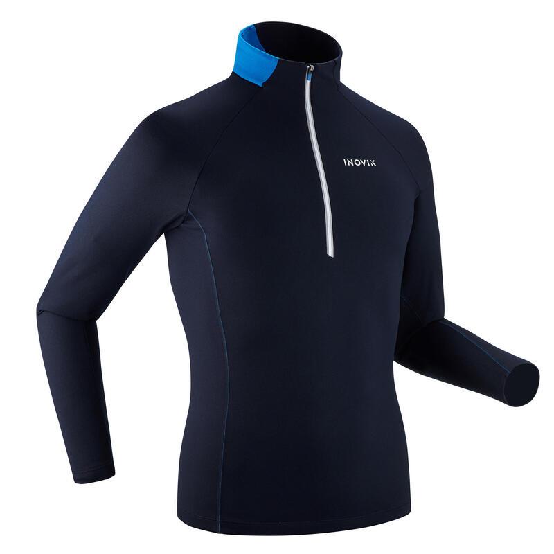 T-shirt ski de fond manches longues chaud 1/2 zip Homme XC S 100 - Bleu