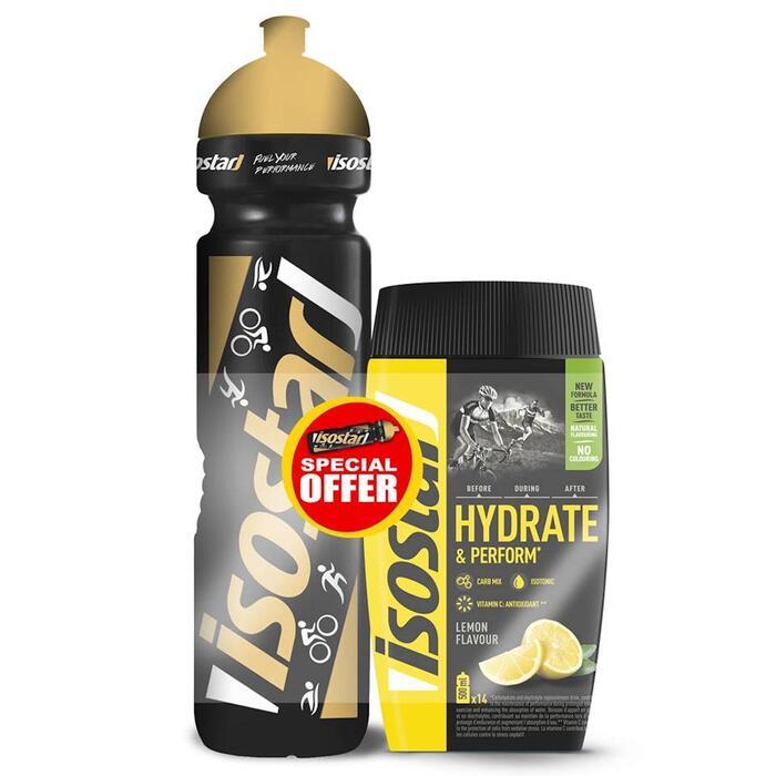 Aanbieding poeder voor sportdrank Hydrate & Perform citroen 560 g + bidon 1l