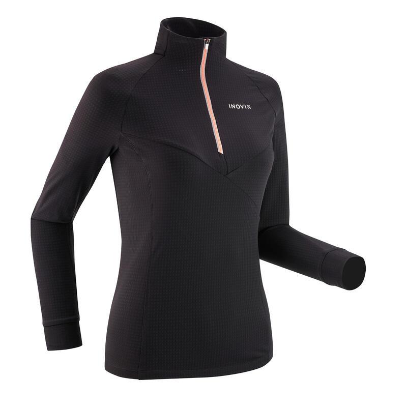 T-shirt ski de fond manches longues léger 1/2 zip Femme XC S LIGHT 500 - Noir