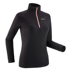 Tee-shirt manches longues de ski de fond léger noir - XC S tee-shirt 500 - FEMME