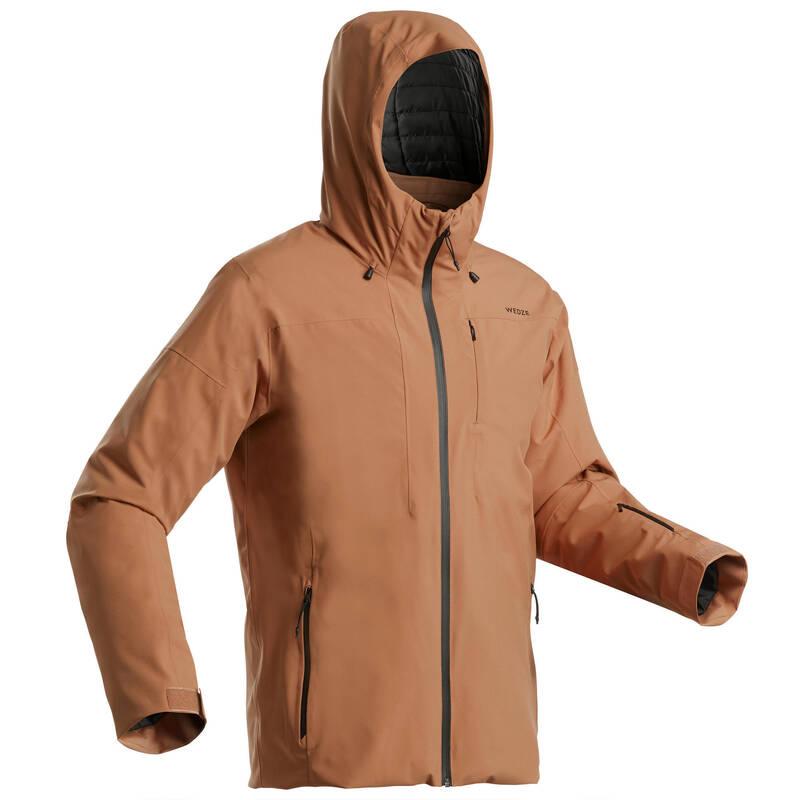 PÁNSKÉ OBLEČENÍ NA LYŽOVÁNÍ (POKROČILÍ) Lyžování - LYŽAŘSKÁ BUNDA 500 HNĚDÁ  WEDZE - Lyžařské oblečení a doplňky