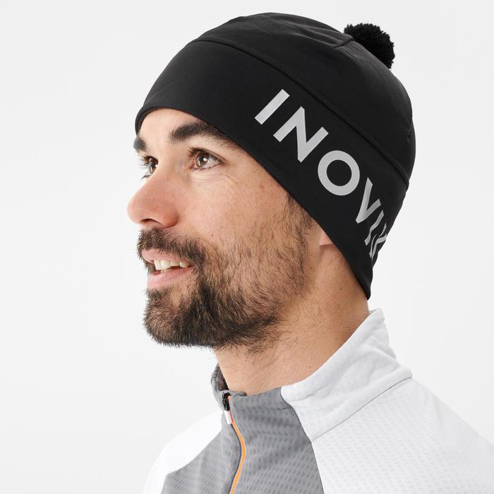 Bonnet de ski de fond noir à pompon - XC S bonnet 500 - ADULTE