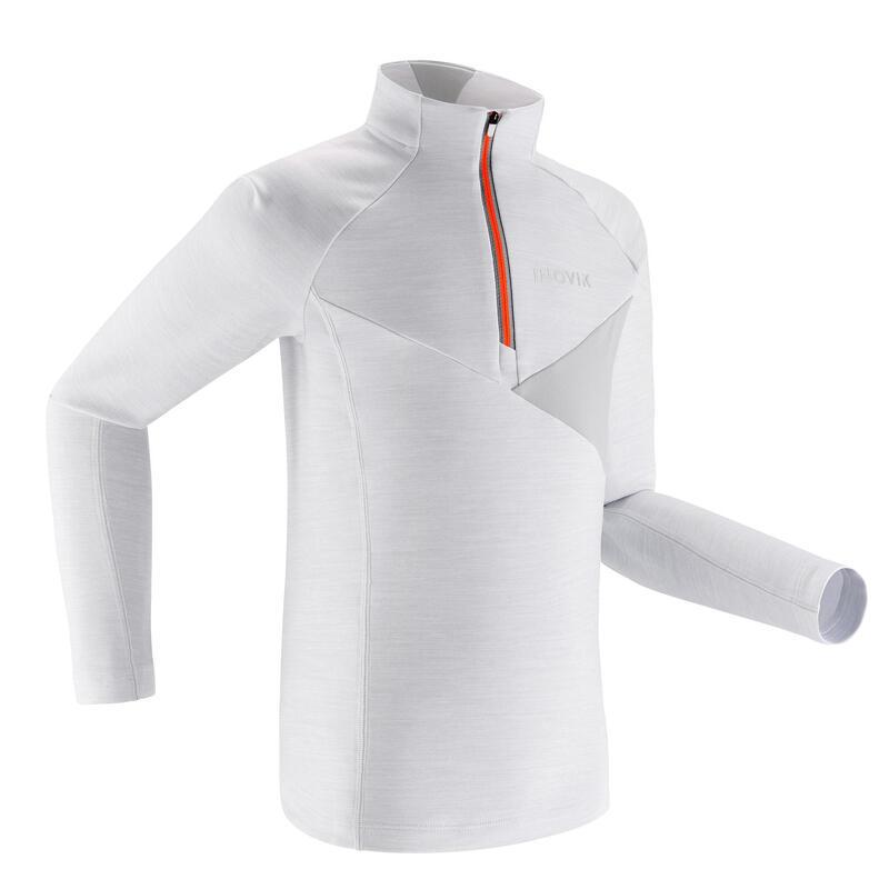 Kids' Warm Long-Sleeve T-Shirt XC S TS 100 - White