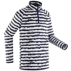 Sous-vêtement de ski enfant Haut BL Freshwarm1/2 zip rayé bleu