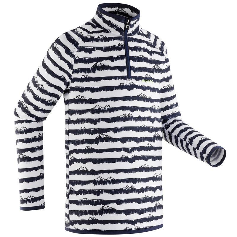 Sous-vêtement de ski enfant FRESHWARM 1/2 zip haut rayé bleu
