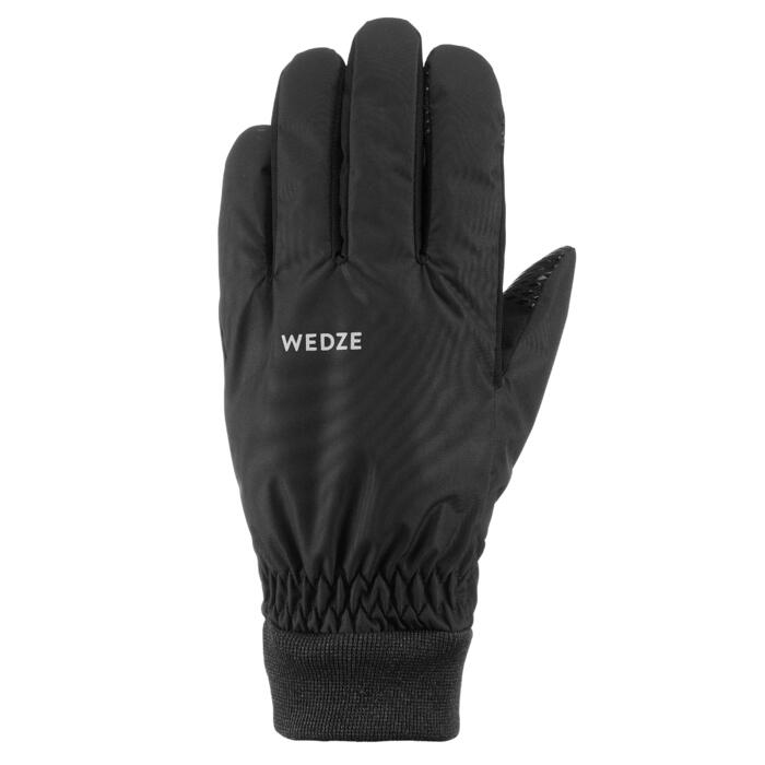 GANTS DE SKI DE PISTE ADULTE 100 LIGHT NOIRS