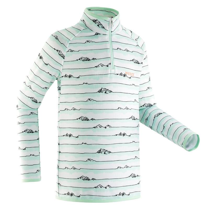 Thermoshirt voor skiën kinderen 1/2 rits Freshwarm gestreept menthol