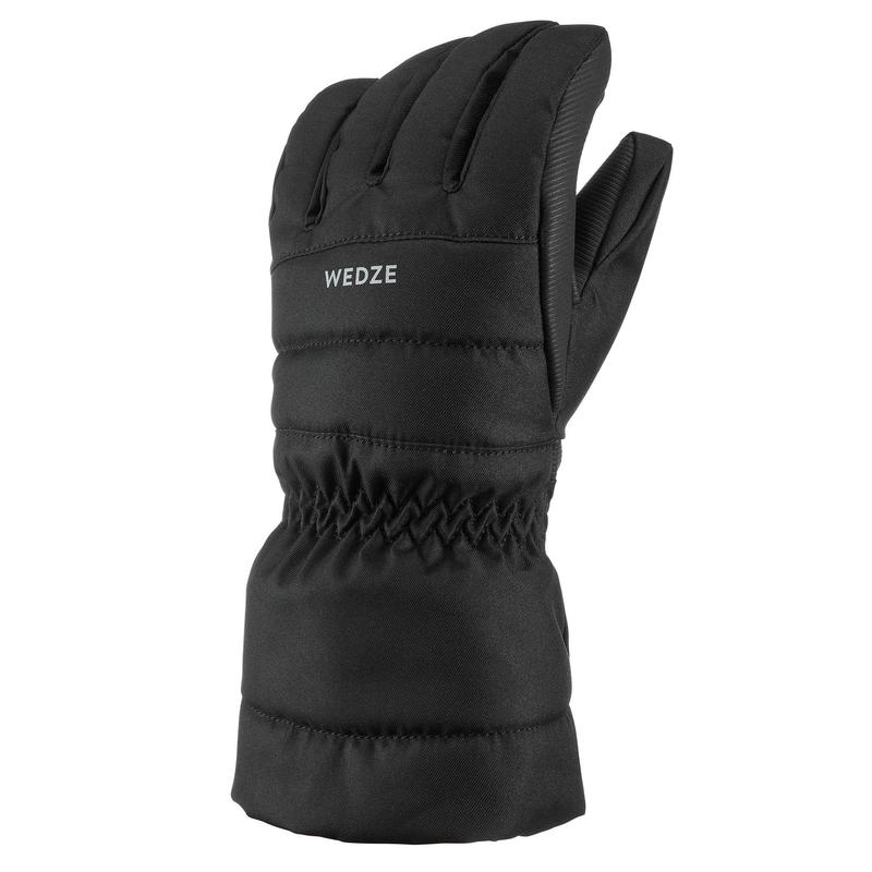 Warme en waterdichte skihandschoenen voor kinderen 500 zwart