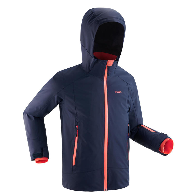 Ski-jas voor kinderen 500 MARINEBLAUW EN KORAAL