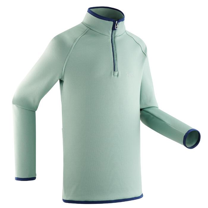 Thermoshirt met halve rits voor skiën kinderen FRESHWARM watergroen