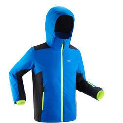 Warme en waterdichte ski-jas voor kinderen 500 blauw zwart
