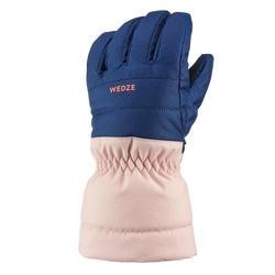 Warme en waterdichte skihandschoenen voor kinderen 500 blauw/roze