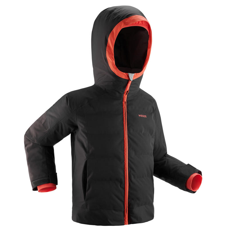 KIDS' EXTRA WARM AND WATERPROOF PADDED SKI JACKET 580 WARM GREY AND CORAL