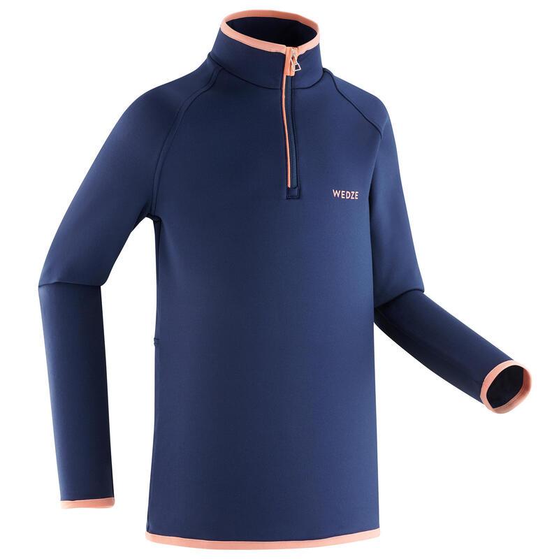 Thermoshirt met halve rits voor skiën kinderen Freshwarm blauw