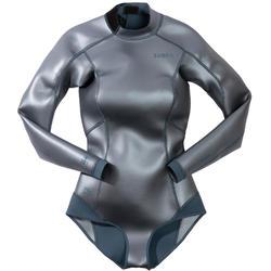 Free-diving top FRD 500 Women's glide skin neoprene 1.5mm grey