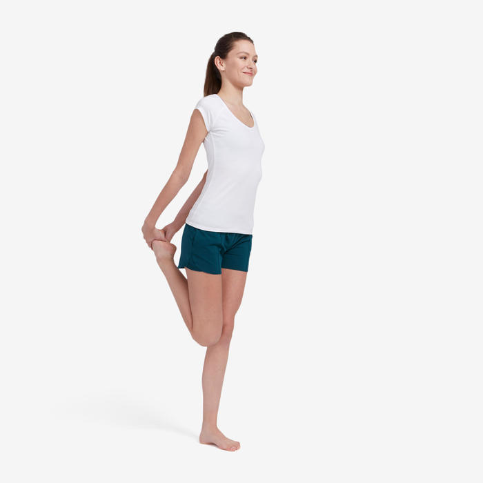 Damesshort voor pilates en lichte gym 520 petrolblauw