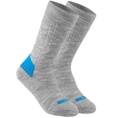 KIDS' MID-HEIGHT WARM HIKING SOCKS - SH100 WARM - 2 PAIRS