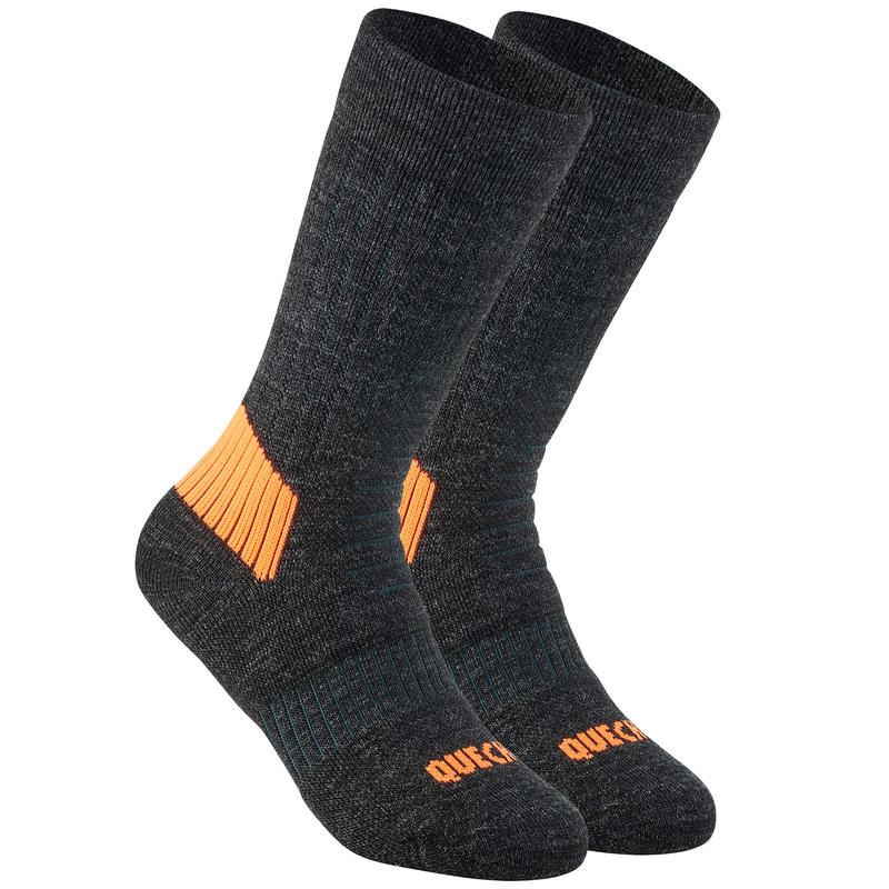 Chaussettes chaudes de randonnée - SH100 WARM MID - enfant X2 paires