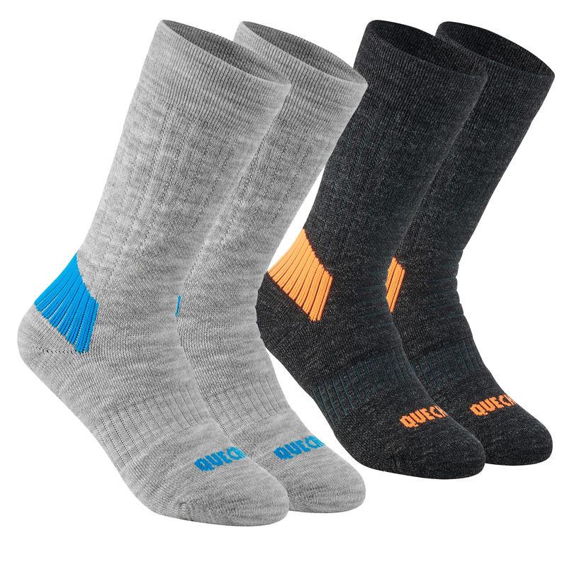 Children's warm hiking socks - SH100 WARM MID - x2 pairs