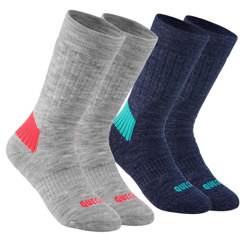 Dětské turistické polovysoké ponožky SH 100 Warm šedo-černé 2 páry