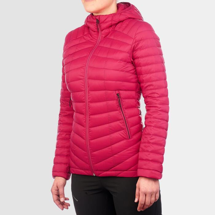 Doudoune duvet de trek en montagne - TREK 100 ROSE Femme