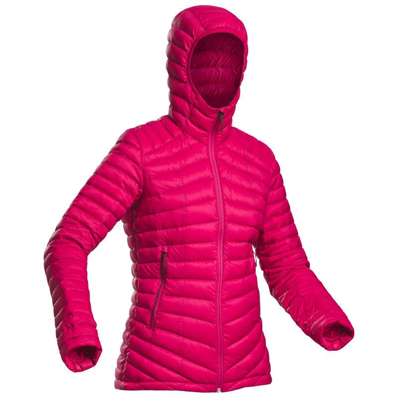 DOUDOUNE EN DUVET DE TREK MONTAGNE - MT 100 -5°C - ROSE -FEMME