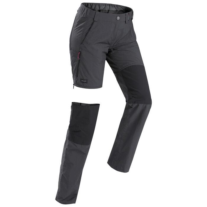 Pantalon modulable de trek en montagne - Trek 100 Gris femme