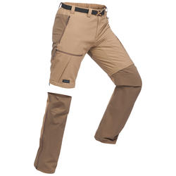Men's Mountain Trekking Modular Trousers -TREK 500 - Brown