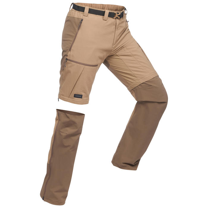 Pantalon modulable de trek montagne - TREK 500 marron homme