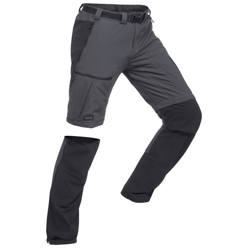กางเกงขายาวผู้ชายแบบถอดขาได้สำหรับการเทรคกิ้งบนภูเขารุ่น Trek 500 (สีเทาเข้ม)