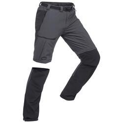 男款登山健行拉鍊長褲Trek 500-深灰色