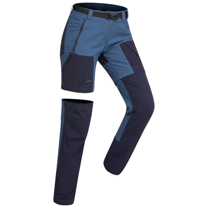 Women's Convertible mountain trekking trousers - TREK 500 - blue