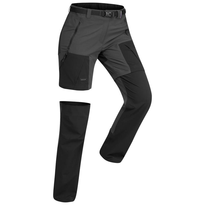 Pantalon modulable de trek montagne - TREK 500 gris femme
