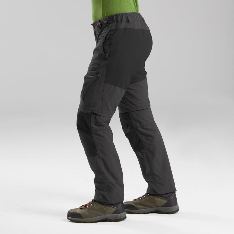 Pantalones Hombre de Montaña y Trekking Desmontables Forclaz Trek 100 Gris