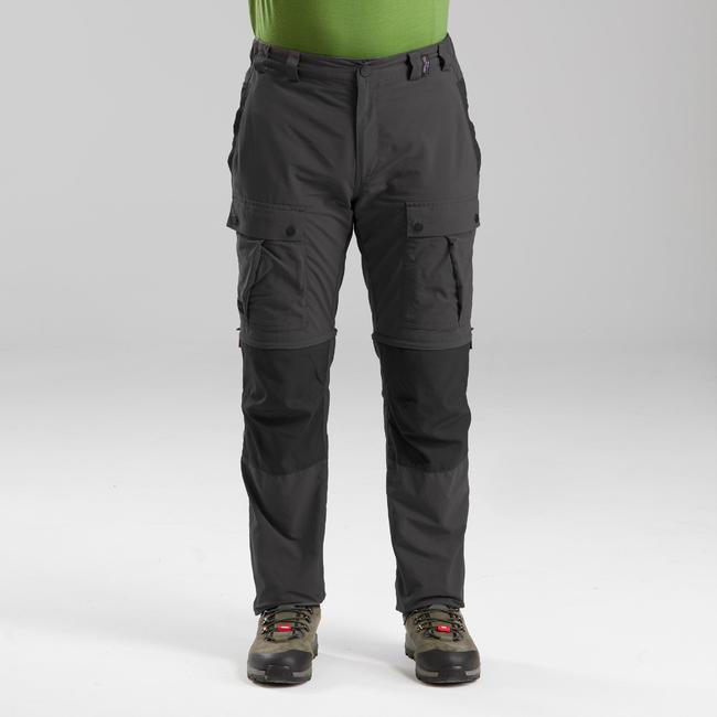 Men's Mountain Trekking Modular Trousers - TREK 100 Grey