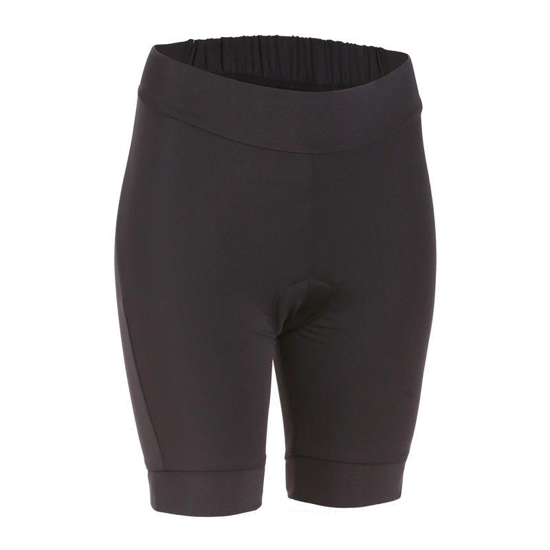 กางเกงปั่นจักรยานขาสั้นแบบไม่มีเอี๊ยมสำหรับผู้หญิงรุ่น 100 (สีดำ)