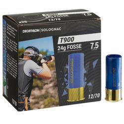 CARTOUCHE BALL-TRAP T900 24G FOSSE CALIBRE 12/70 PLOMB N°7,5 X25 SOLOGNAC