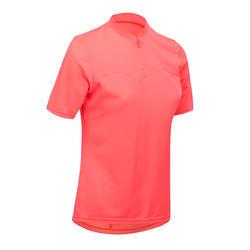 Fietsshirt met korte mouwen voor dames RC100 roze