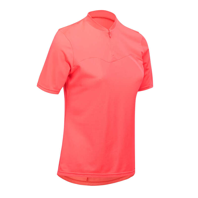 WOMEN WARM WEATHER ROAD APPAREL Clothing - RC 100 Women's Short Sleeve Cycling Jersey - Pink TRIBAN - By Sport