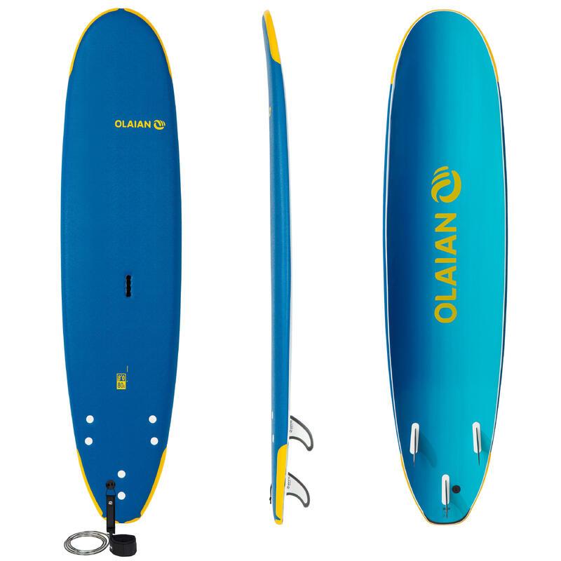 """Planche de surf en mousse 8"""" 500 School . Livrée avec un leash et 3 ailerons."""