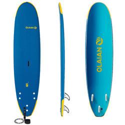 Prancha de Surf em Espuma 500 School 8'' com um leash e 3 quilhas.