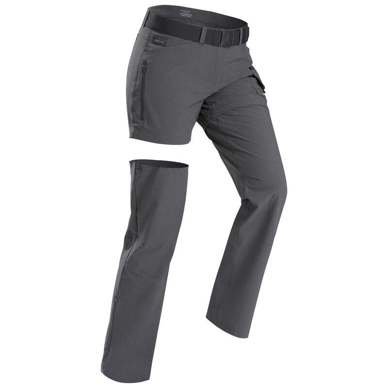 Pantalon modulable de trek voyage - TRAVEL 500 gris femme