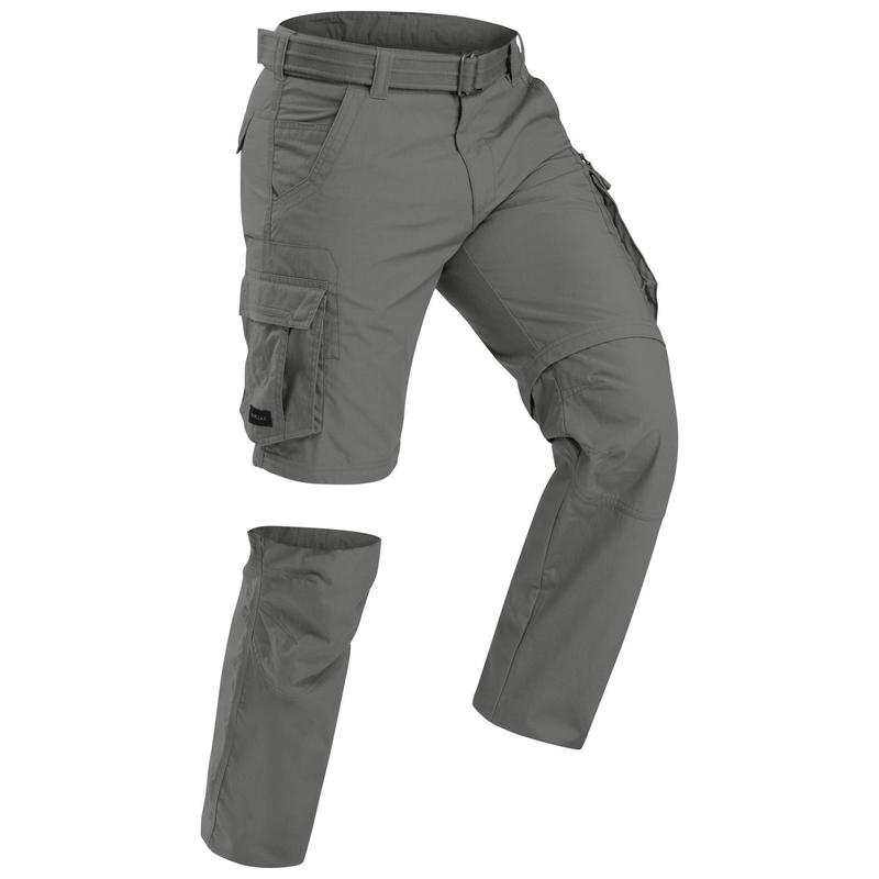 Men's Travel Trekking Zip-Off Cargo Trousers - Travel 100 Zip-Off - khaki