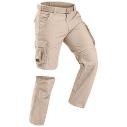 Men's trekking travel trousers - TRAVEL 100 ADJUST - sand
