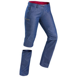 Afritsbroek voor backpacken dames Travel 100 jeansblauw