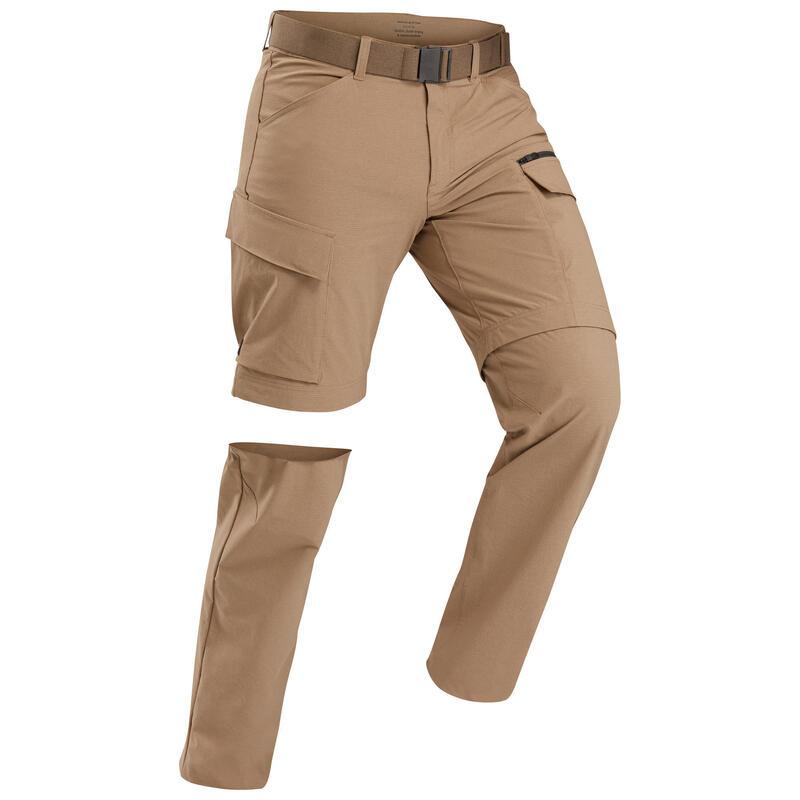 Men's trekking travel convertible trousers - TRAVEL 500 CONVERT - Camel