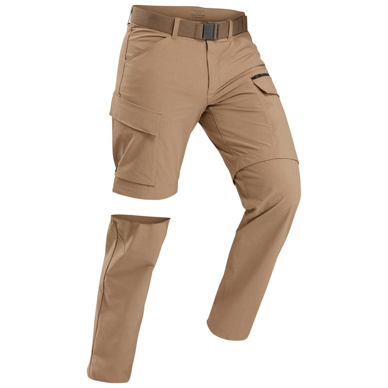 Afritsbroek voor trekking heren TRAVEL 500 camel
